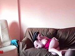 Hot couch. MILF caught with a hidden spycam by a voyeur RAF339